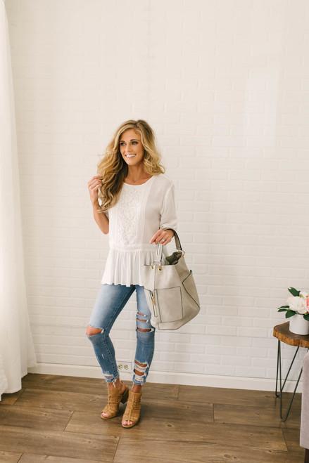 Johanna Lace & Crochet Peplum Top - White
