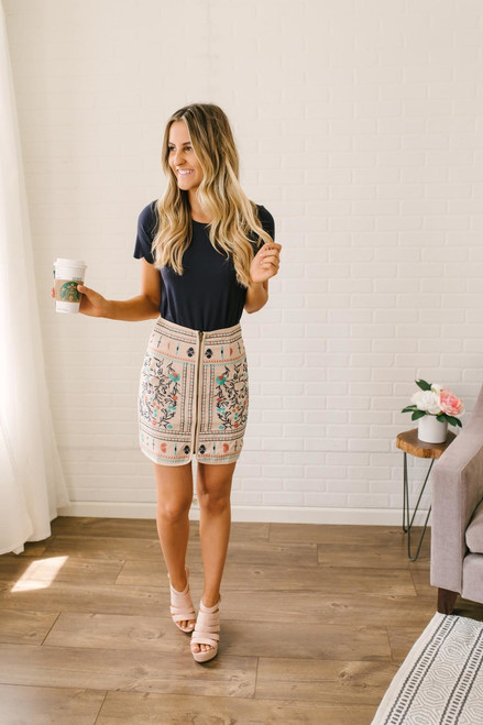 Embroidered Zip Up Skirt - Taupe Multi