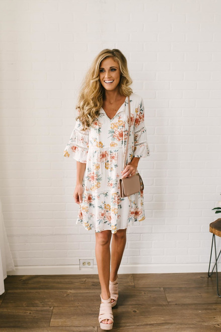 Tropical Gardens Floral Ladder Dress - Off White Multi