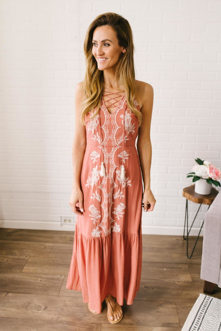 Serenity Lace Up Embroidered Maxi - Burnt Orange