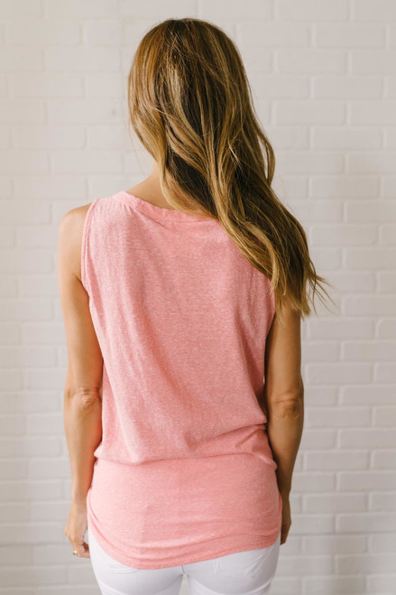 Hello Sunshine Button Down Knot Tank - Coral