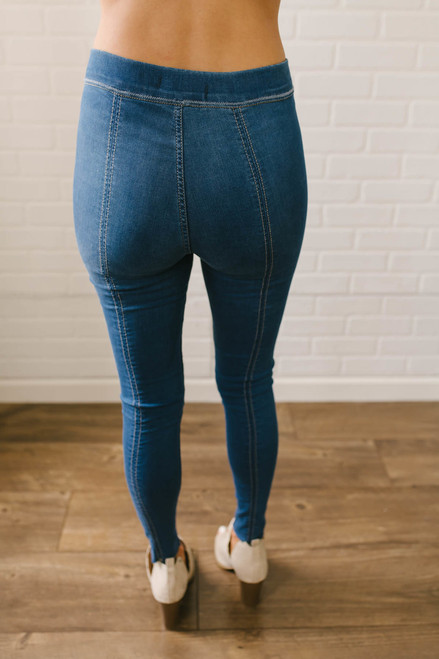 Free People Seam Detail Pull On Jeans - Light Wash