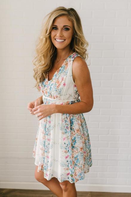 Afternoon Tea Floral Print Dress - Ivory Multi