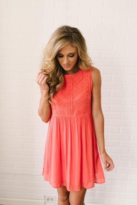 Crazy for You Crochet Detail Dress - Red Orange