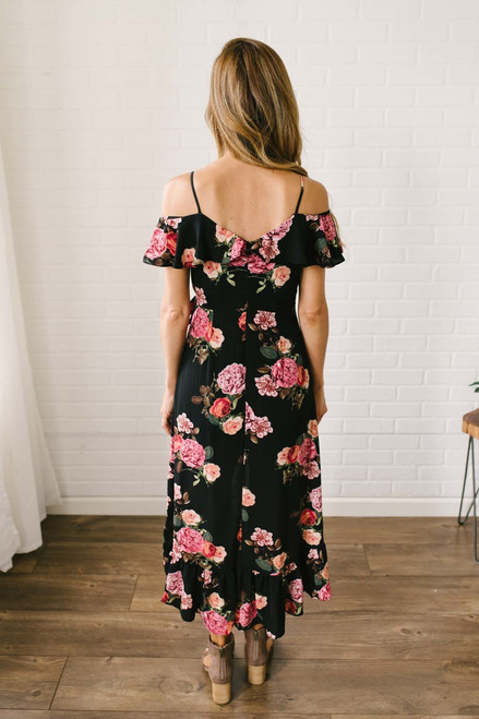 Daniella Floral High Low Dress - Black Multi