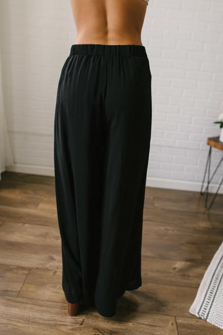 Parisian Holiday High Waist Slit Pants - Black