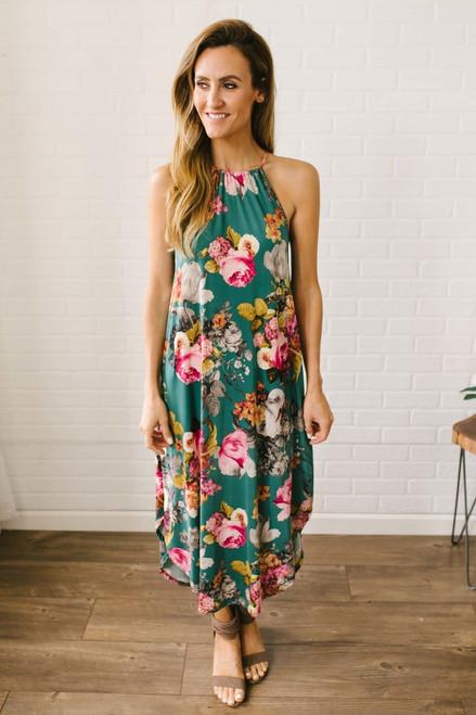 Tropical Breeze Floral Halter Midi Dress - Dark Jade Multi