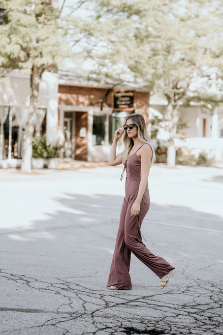 One Way or Another Lace Up Jumpsuit - Dark Mauve - FINAL SALE