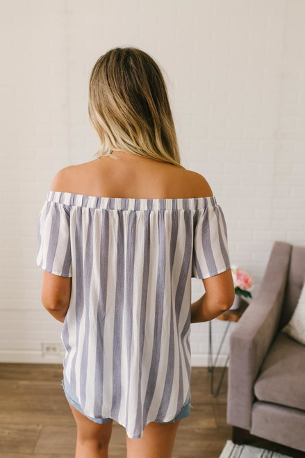 Off the Shoulder Striped Keyhole Top - White/Navy