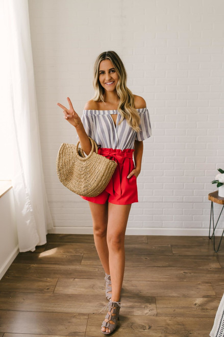 Cherry on Top Ruffle Shorts - Red  - FINAL SALE