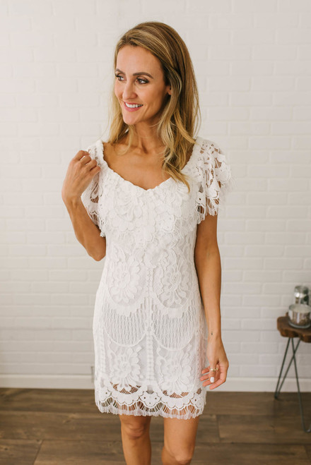 Unconditional Love Off the Shoulder Lace Dress - Off White