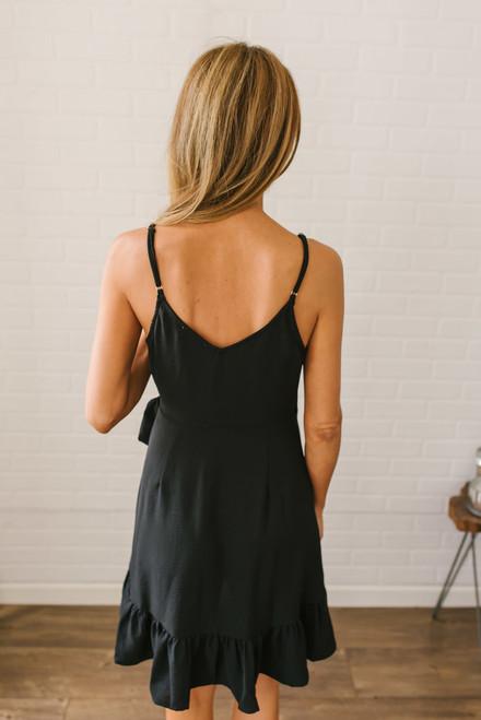 Heartfelt Goodbye Ruffle Wrap Dress - Black