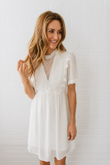 Short Sleeve Crochet & Dotted Detail Dress - Ivory - FINAL SALE