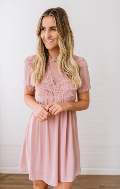 Short Sleeve Crochet & Dotted Detail Dress - Mauve - FINAL SALE