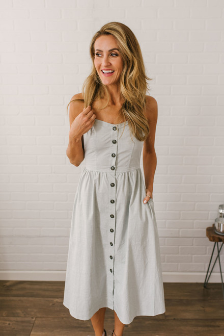 Hampton's Bay Button Down Midi Dress - Dusty Sage  - FINAL SALE