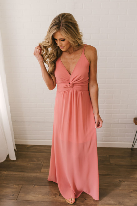 Briella Empire Waist Twisted Knot Maxi - Dusty Coral