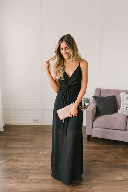 Briella Empire Waist Twisted Knot Maxi - Black
