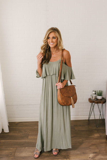 Long Lost Love Cold Shoulder Maxi - Olive