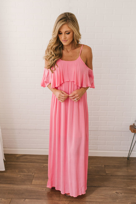 Long Lost Love Cold Shoulder Maxi - Watermelon Pink - FINAL SALE