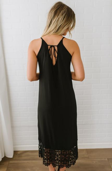 Sloane Crochet Detail Midi Dress - Black - FINAL SALE