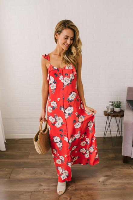 Waikiki Beach Button Down Floral Maxi - Red Multi - FINAL SALE