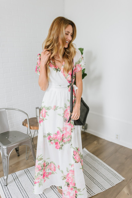 Beauty in Bloom Floral Wrap Maxi - Ivory Multi - FINAL SALE