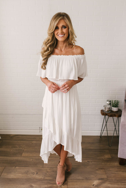 Off the Shoulder Asymmetrical Ruffle Dress - Off White