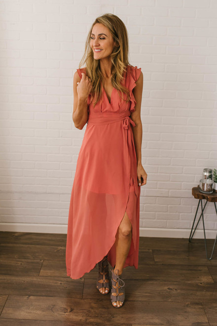 Dreaming of Paradise Maxi Dress - Dusty Coral
