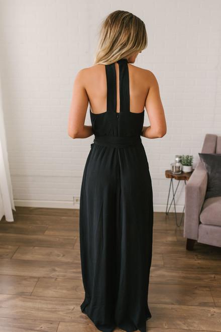 Roman Holiday Halter Neck Jumpsuit - Black