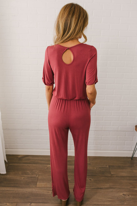 London Calling Knit Jumpsuit - Brick - FINAL SALE