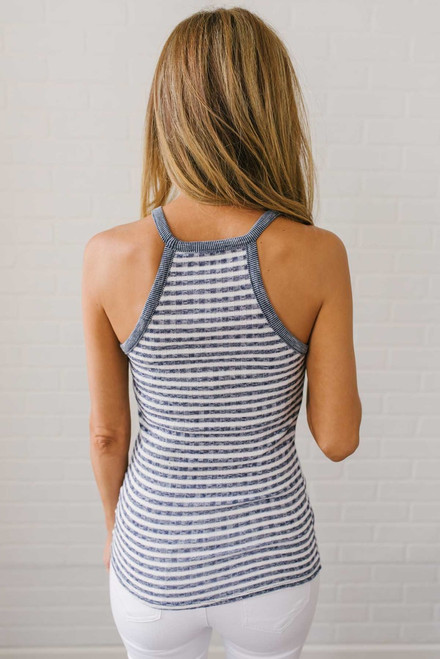 Peyton Ribbed Knit Halter Tank - Navy/White - FINAL SALE