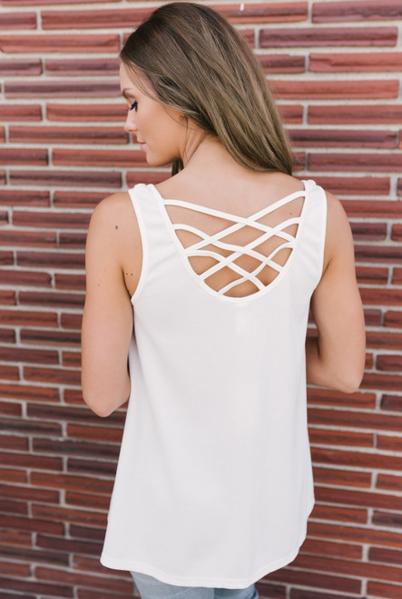 Criss Cross Back Button Down Tank - Ivory - FINAL SALE