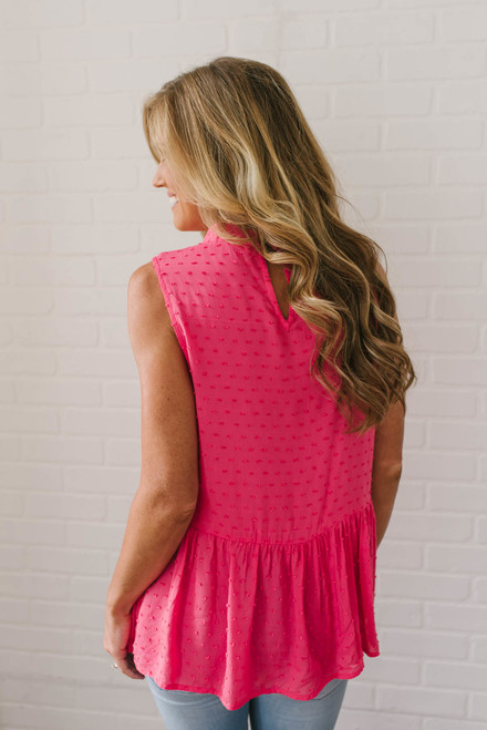 High Neck Embroidered Dotted Tank - Coral/Lilac