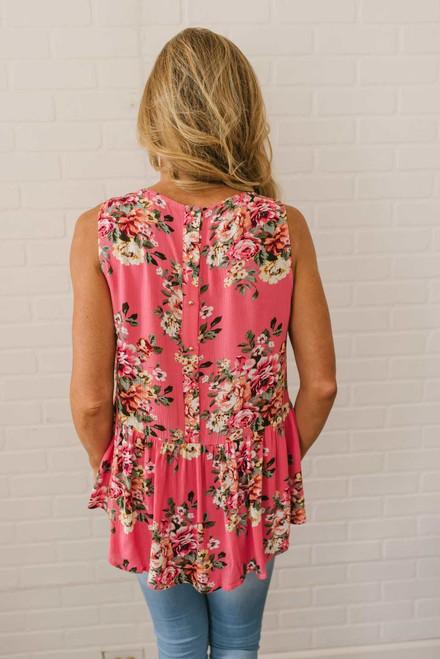 Button Back Floral Peplum Tank - Coral Pink  - FINAL SALE