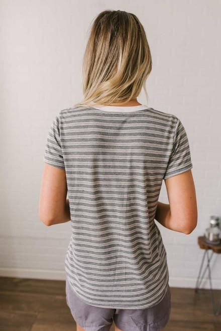 California Coast Contrast Stripe Tee - Black/Cream - FINAL SALE