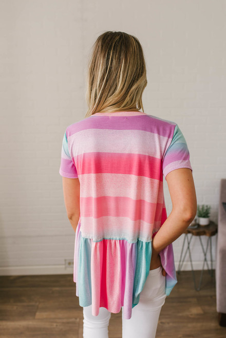 Mermaid Crossing Striped Babydoll Top - Neon Multi  - FINAL SALE