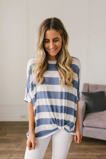 Summer Vacation Striped Knot Top - Periwinkle/White
