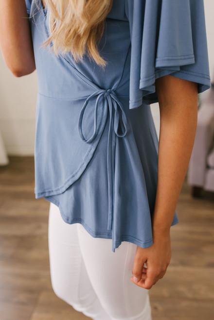 Short Sleeve Babydoll Wrap Top - Dusty Blue  - FINAL SALE