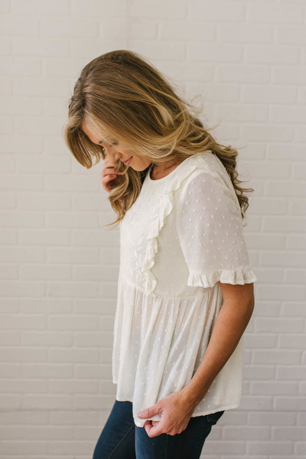 Short Sleeve Embroidered Dotted Babydoll Top - Cream