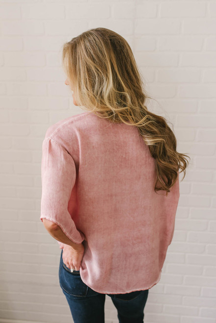 Short Sleeve Vintage Wash Knot Top - Dusty Rose  - FINAL SALE