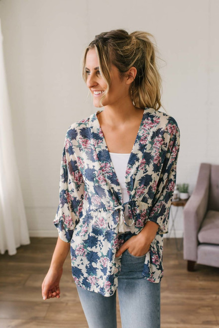 Off to the Coast Floral Kimono - Taupe Multi