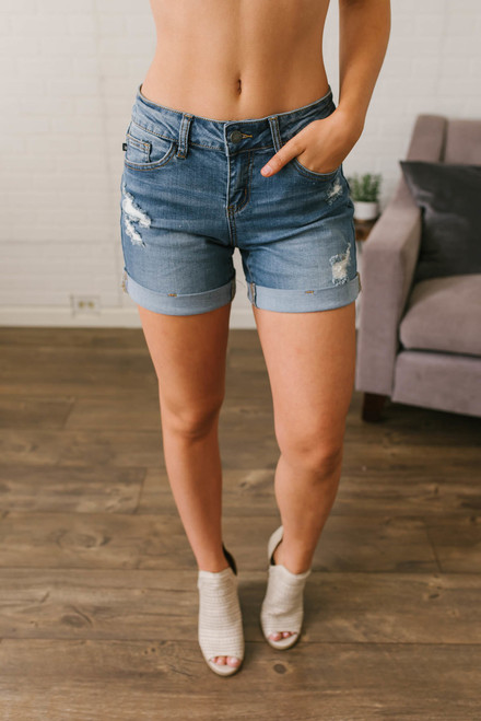 Summer Adventure Cuffed Boyfriend Shorts - Medium Wash
