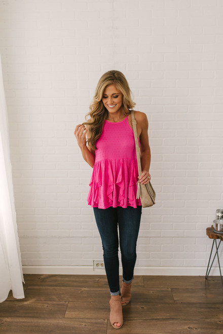 Tinley Ruffled Dotted Babydoll Tank - Magenta - FINAL SALE