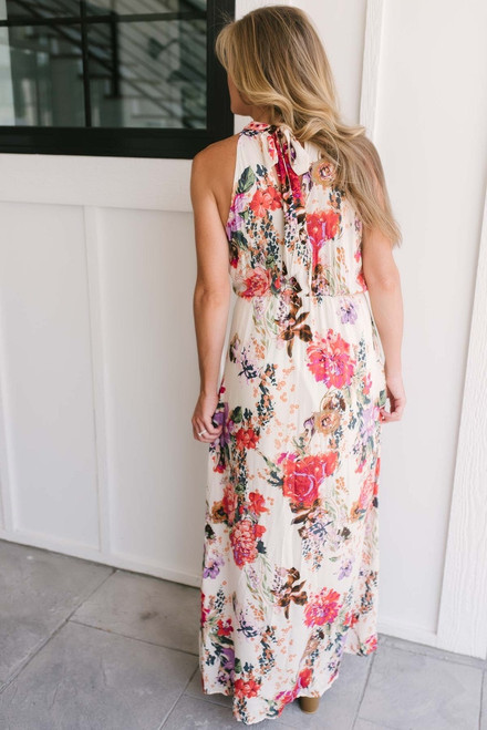 Floral Halter Neck Maxi Dress - Ivory Multi - FINAL SALE
