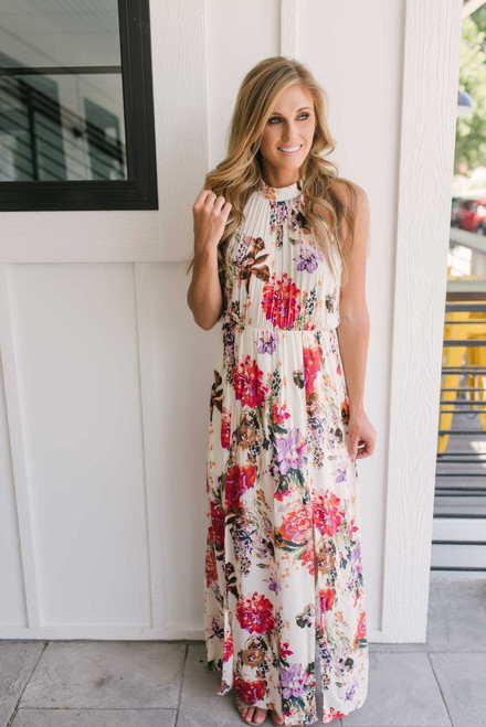Floral Halter Neck Maxi Dress - Ivory Multi