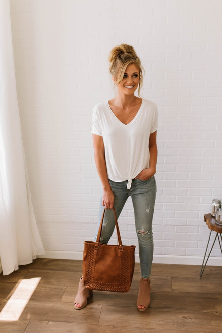 V-Neck Knotted Tee - Off White