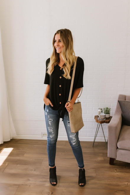 Savannah May Button Down Knot Top - Black