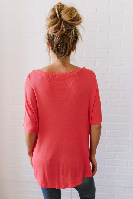 Savannah May Button Down Knot Top - Coral - FINAL SALE