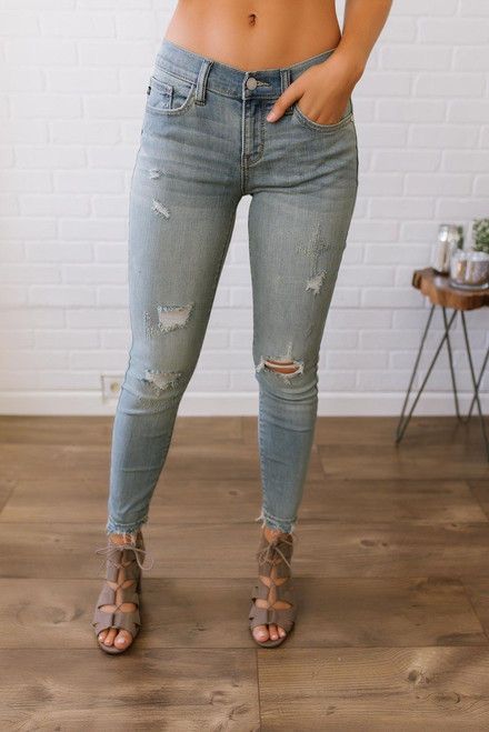 Southern Charm Distressed Skinny Jeans - Light Wash