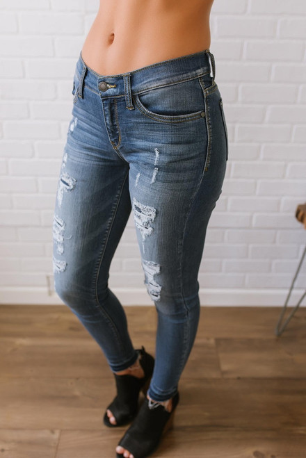 Summertime Blues Distressed Skinny Jeans - Medium Wash